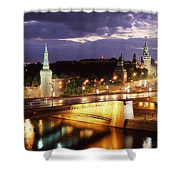 City Lit Up At Night, Red Square Shower Curtain by Panoramic Images