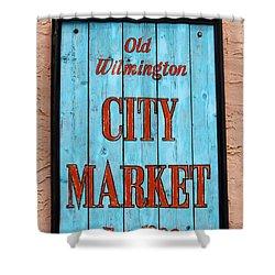 City Market Sign Shower Curtain by Cynthia Guinn