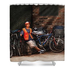 City - Ny - Waiting For The Next Delivery Shower Curtain by Mike Savad