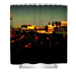 Shower Curtain featuring the photograph City Of Gold - New York City Sunset With Water Towers by Miriam Danar