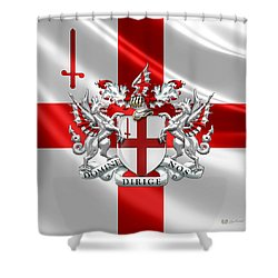 City Of London - Coat Of Arms Over Flag  Shower Curtain