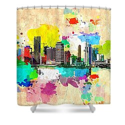 City Of Miami Grunge Shower Curtain