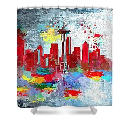 City Of Seattle Grunge Shower Curtain