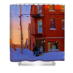 City Of Verdun Winter Sunset Pierrette Patates Art Of Montreal Street Scenes Carole Spandau Shower Curtain by Carole Spandau