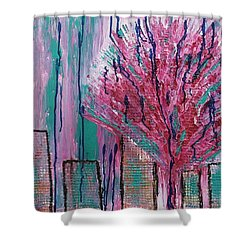 City Pear Tree Shower Curtain