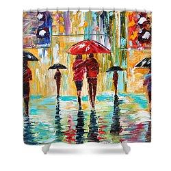 City Rain Shower Curtain by Karen Tarlton