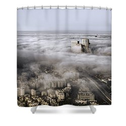Shower Curtain featuring the photograph City Skyscrapers Above The Clouds by Ron Shoshani