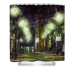Shower Curtain featuring the drawing City Street by Joe Misrasi