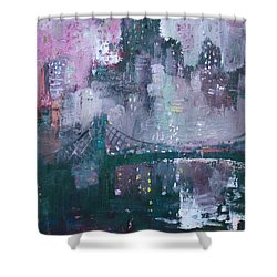 City That Never Sleeps Shower Curtain by Ylli Haruni