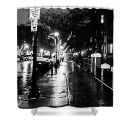 City Walk In The Rain Shower Curtain by Mike Ste Marie