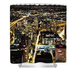Shower Curtain featuring the photograph Cityscape Golden Burrard Bridge Mdlxiv by Amyn Nasser