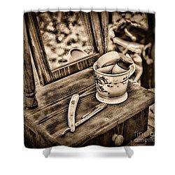 Civil War Shaving Mug And Razor Black And White Shower Curtain by Paul Ward
