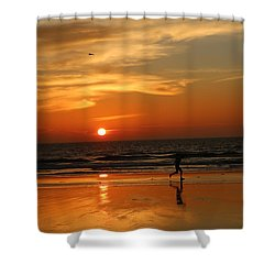 Clam Digging At Sunset - 3 Shower Curtain