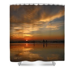 Clam Digging At Sunset -1  Shower Curtain