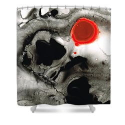 Clarity - Black And White Art Red Painting Shower Curtain by Sharon Cummings
