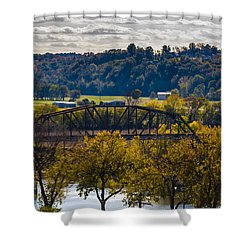 Clarksville Railroad Bridge Shower Curtain