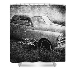 Clasic Car - Pen And Ink Effect Shower Curtain by Brian Wallace