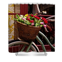 Classic Bike With Tulips Shower Curtain