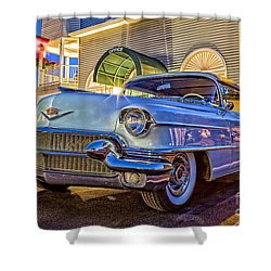 Classic Blue Caddy At Night Shower Curtain by Edward Fielding