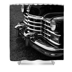 Classic Cadillac Sedan Black And White Shower Curtain by Edward Fielding