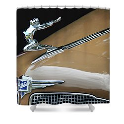 Classic Car - Buick Victoria Hood Ornament Shower Curtain by Peggy Collins