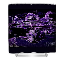 Shower Curtain featuring the photograph Neon Classic Car Show by Bobbee Rickard