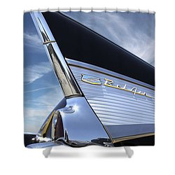 Classic Fin - 57 Chevy Belair Shower Curtain by Mike McGlothlen