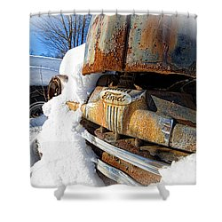Classic Ford Pickup Truck In The Snow Shower Curtain by Edward Fielding