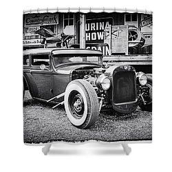 Classic Hot Rod In Black And White Shower Curtain