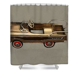 Classic Ranch Wagon Pedal Car Shower Curtain by Michelle Calkins