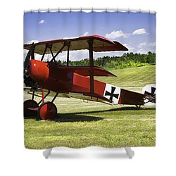 Classic Red Barron Fokker Dr.1 Triplane Photo Shower Curtain by Keith Webber Jr