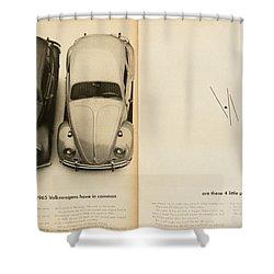 Classic Volkswagen Beetle Vintage Advert Shower Curtain by Georgia Fowler