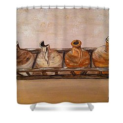 Clay Jugs In A Row Shower Curtain by Brenda Brown