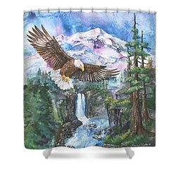 Shower Curtain featuring the painting Cleared For Landing Mount Baker by Sherry Shipley