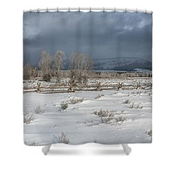 Clearing Storm In The Tetons Shower Curtain by Sandra Bronstein