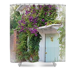 Clematis Around The Door Shower Curtain by Terri Waters