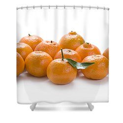 Shower Curtain featuring the photograph Clementine Oranges On White by Lee Avison