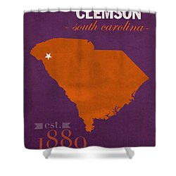 Clemson University Tigers College Town South Carolina State Map Poster  Series No 030 Shower Curtain