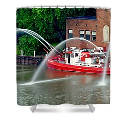 Cleveland Firehouse Shower Curtain by Frozen in Time Fine Art Photography