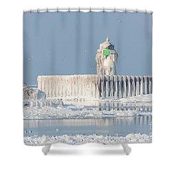 Cleveland Harbor East Pierhead Light Shower Curtain