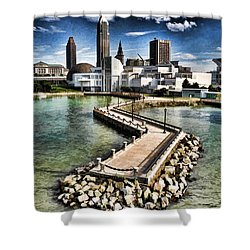 Shower Curtain featuring the photograph Cleveland Inner Harbor - Cleveland Ohio - 1 by Mark Madere