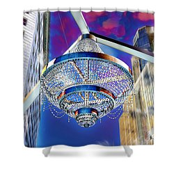 Shower Curtain featuring the photograph Cleveland Playhouse Square Outdoor Chandelier - 1 by Mark Madere