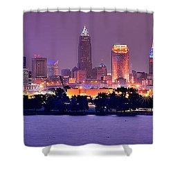 Cleveland Skyline At Night Evening Panorama Shower Curtain