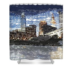 Cleveland Skyline - Typography Shower Curtain