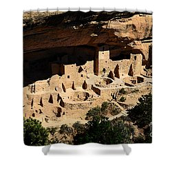 Cliff Palace At Mesa Verde National Park Anasazi Ruin Watercolor Digital Art Shower Curtain