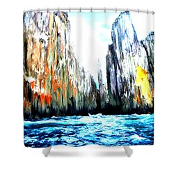 Shower Curtain featuring the painting Cliffs By The Sea by Bruce Nutting