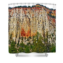 Cliffs Near Checkerboard Mesa Along Zion-mount Carmel Highway In Zion National Park-utah Shower Curtain