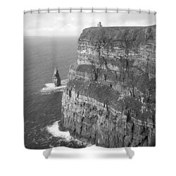 Cliffs Of Moher - O'brien's Tower B N W Shower Curtain