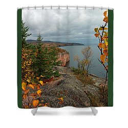 Shower Curtain featuring the photograph Cliffside Fall Splendor by James Peterson