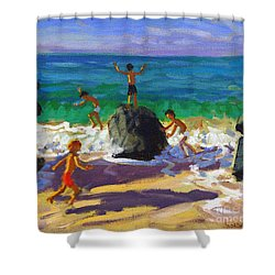 Climbing Rocks Porthmeor Beach St Ives Shower Curtain by Andrew Macara